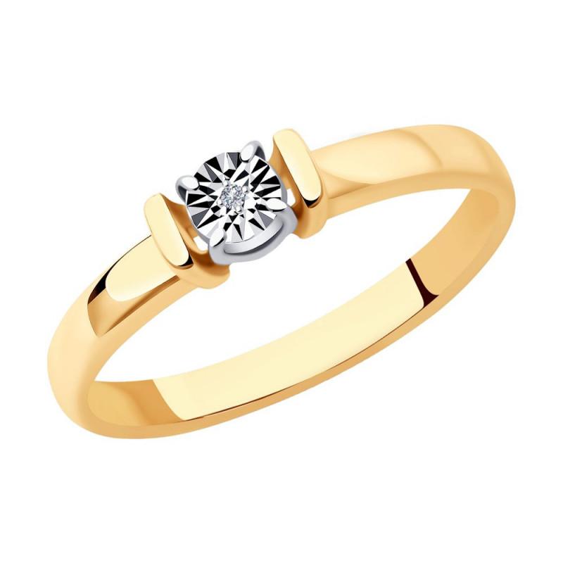 Kullattu hopea SOKOLOV sormus timantilla