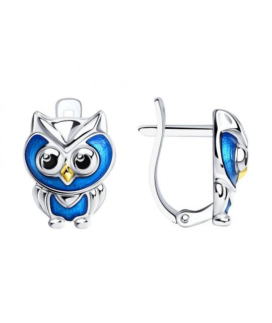 """Silver earrings SOKOLOV with enamel, """"Owl"""""""