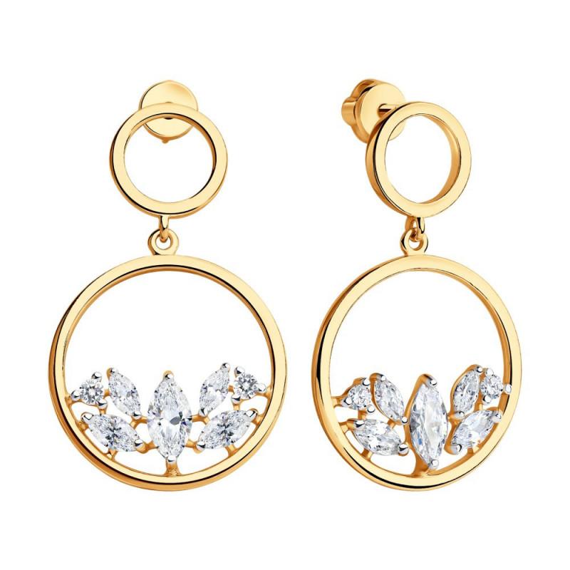 Gilded silver earrings SOKOLOV with cubic zirkonia
