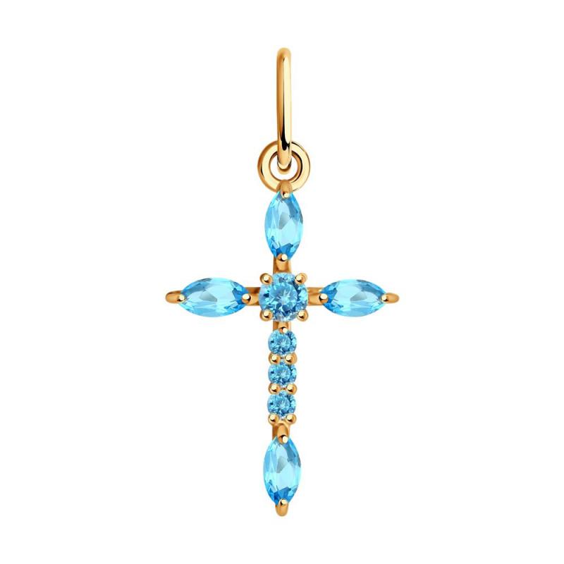 Auksinis kryžius SOKOLOV su topazu