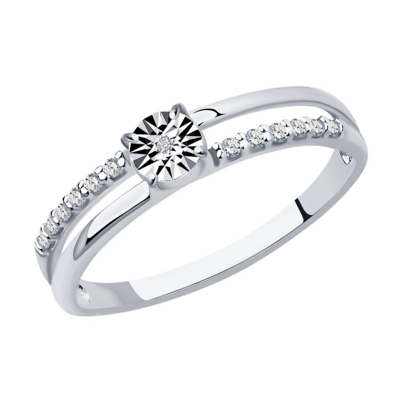 Silver SOKOLOV ring with diamond and cubic zirkonia