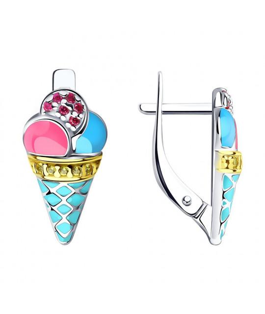 "Earrings SOKOLOV with enamel and cubic zirkonia, ""Ice cream"""