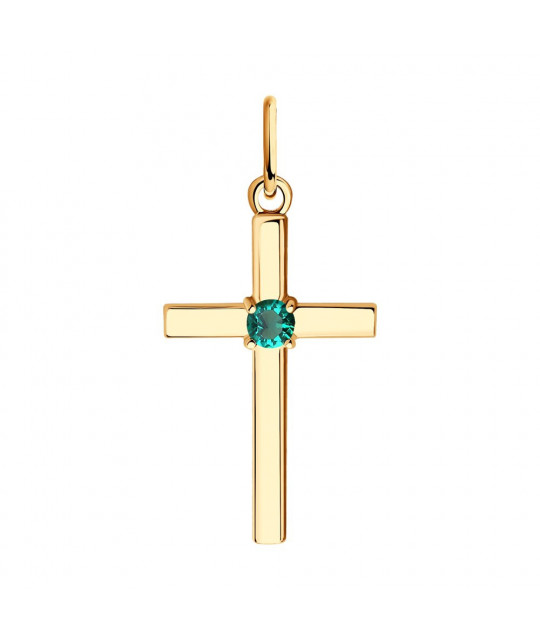 Gold cross SOKOLOV with hydrothermal emerald