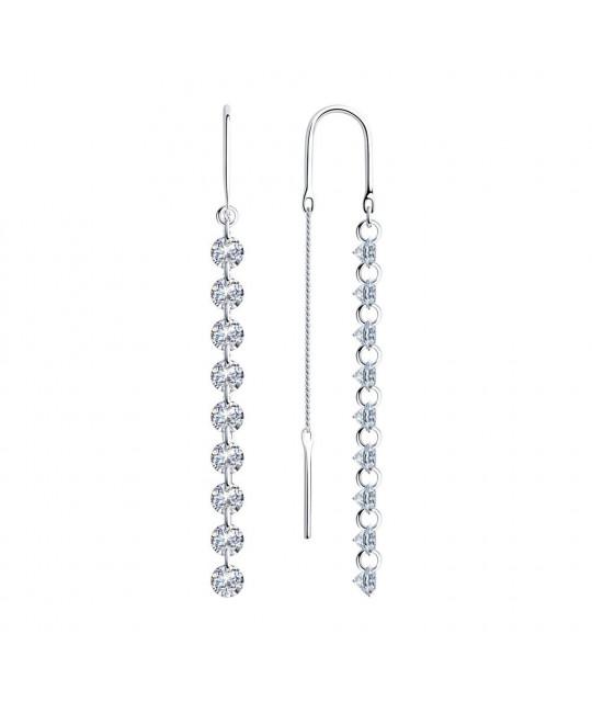 Silver earrings SOKOLOV with cubic zirkonia