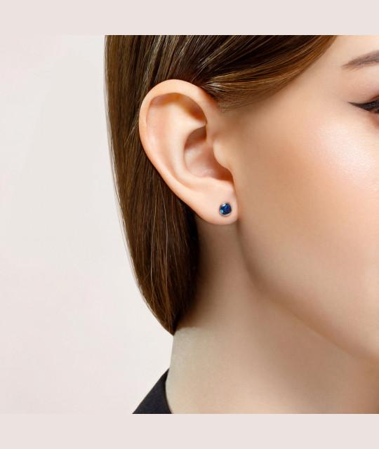 Silver stud earrings SOKOLOV with blue cubic zirkonia