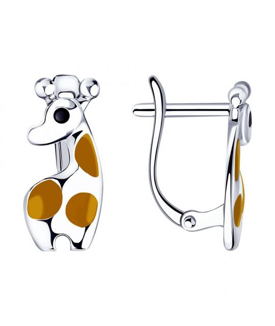 Sudraba auskari SOKOLOV ar emalju, Žirafe