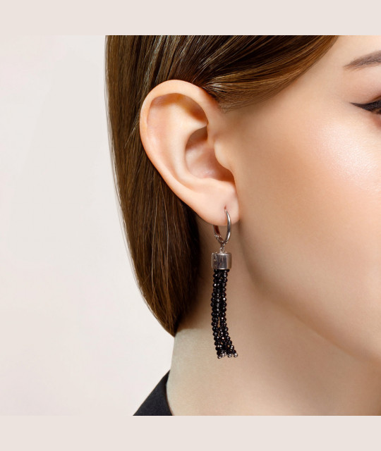 Silver earrings SOKOLOV with spinel