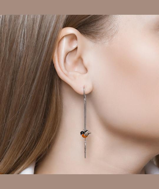 String earrings SOKOLOV, Bullfinches